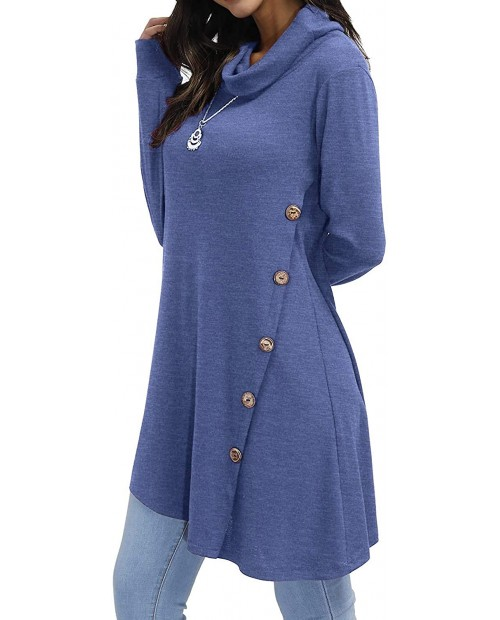 Blevonh Womens Long Sleeve Cowl Neck Shirt Casual Loose Fitting Tunic Tops at  Women's Clothing store