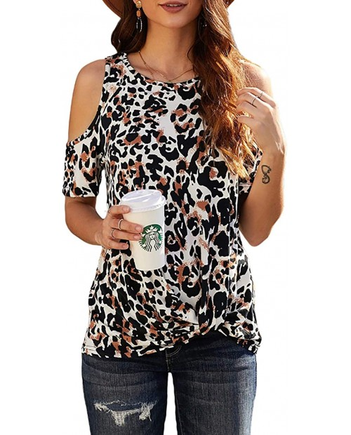 CNFUFEN Womens Leopard Print Cute TshirtsFashionable Knotted Blouse Off-Shoulder Short Sleeve Top