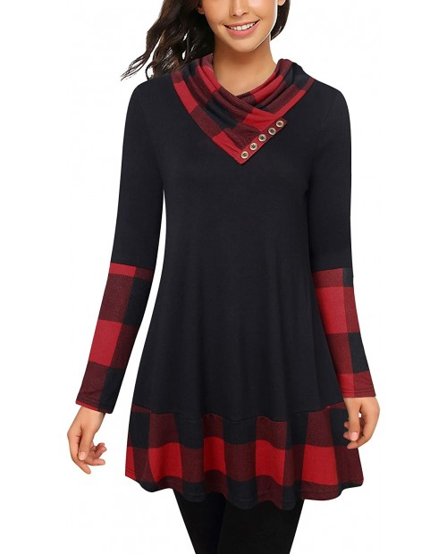Cowl Neck Tunics Long Sleeve Patchwork Form Fitting Casual A-Line Top Blouse at  Women's Clothing store