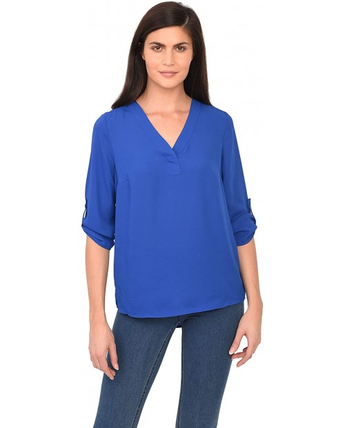 DR2 Womens Long Sleeve Tops V Neck T Shirts Work Casual Tops Tunic Shirts Fashion 3 4 Sleeve Work Blouses for Spring Summer