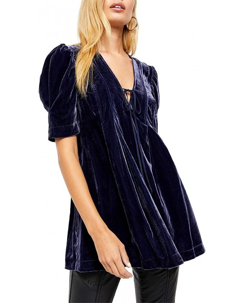 Free People Adelle Velvet Puff Sleeve Deep V-Neck Tie Front Tunic Top at Women's Clothing store
