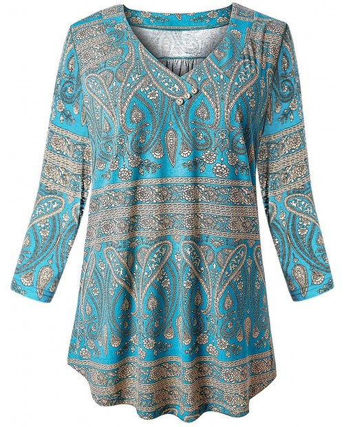 Fulbelle Women Plus Size Tunic V Neck 3 4 Sleeve Blouses Floral Shirts XL-4XL at  Women's Clothing store
