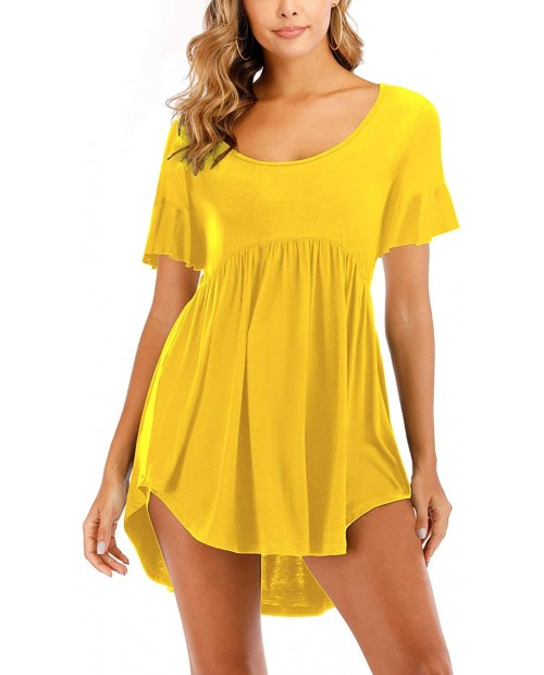 Heftxall Womens Casual Tunic Tops Long Sleeve Scoop Neck T Shirt Flowy Hem Blouse at  Women's Clothing store