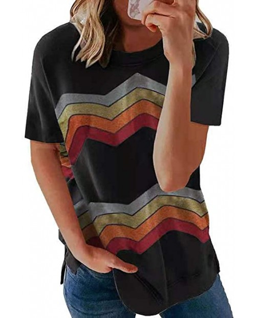 Huange Women Summer Geometric Stripe Short Sleeve Loose T-Shirts Color Block Side Split Crew Neck Casual Tunic Blouse and Tops