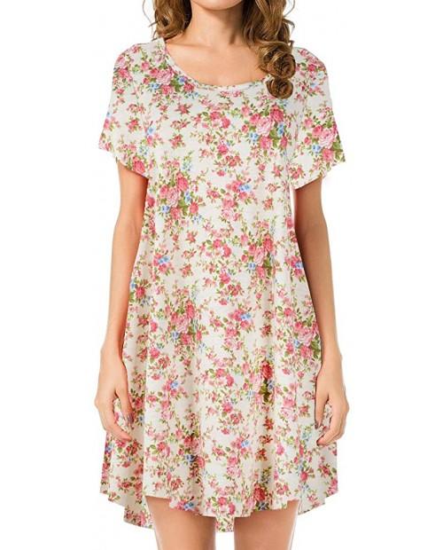JollieLovin Women's Tunic Top Casual Short Sleeve Swing Loose T-Shirt Dress at Women's Clothing store
