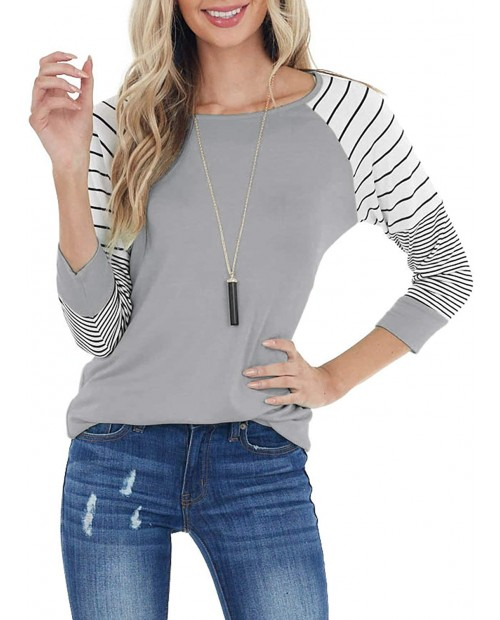 ReachMe Womens Striped 3 4 Sleeve Tops Casual Raglan Sleeve Shirts Round Neck Long Sleeve T Shirts Tee at  Women's Clothing store