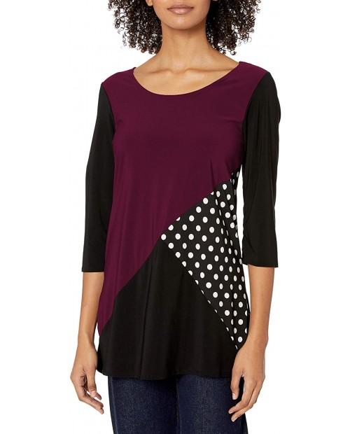 Star Vixen Women's 3 4 Sleeve Scoop Neck Tunic-Length Tri Colorblock Ity Knit Top with Polka Dot Inset at Women's Clothing store