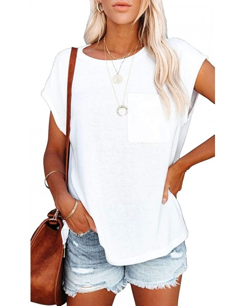 TIMOCHALA Women's Short Sleeve Tunic Tops Basic Loose T Shirts Solid Color Batwing Sleeve Casual Tee with Pocket at  Women's Clothing store
