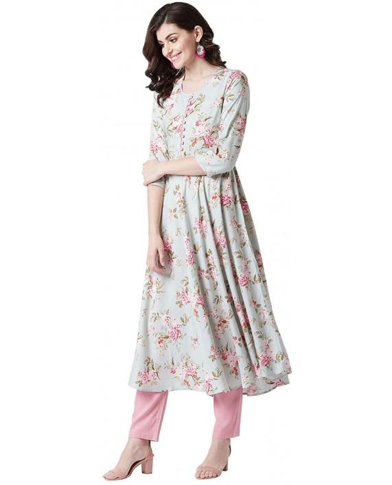 Tissu Women's Sage Green & Pink Floral Printed Flared Kurta at Women's Clothing store