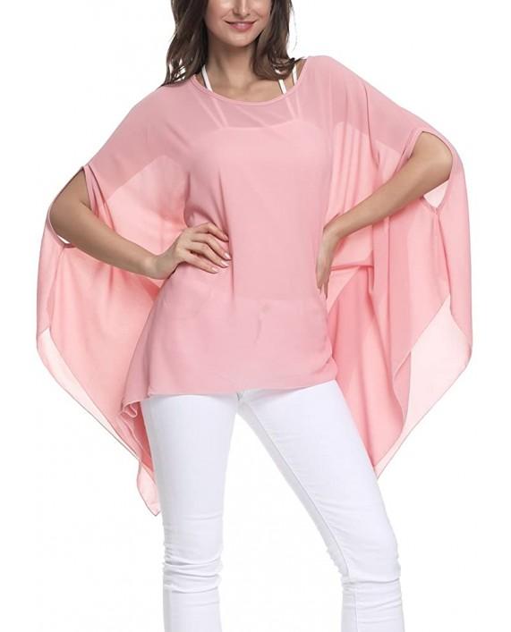 Wiwish Women's Baggy Solid Sheer Chiffon Caftan Poncho Plus Size Batwing Tunic Top Blouse at Women's Clothing store