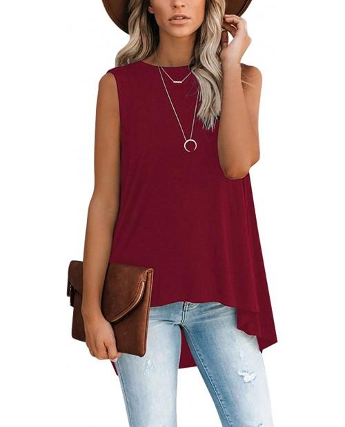 Women's Casual Crewneck Tank Tops Asymmetrical Irregular High Low Hem Sleeveless Summer Blouse Tunic Shirts at Women's Clothing store
