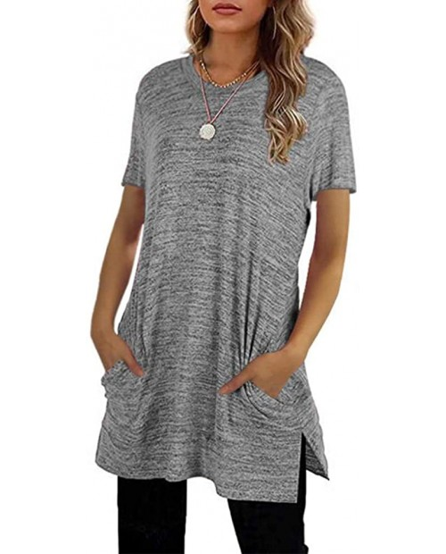 Womens Casual Short Sleeve Round Neck T Shirt Loose Side Split Tees Tunics Tops Blouses with Pockets at  Women's Clothing store