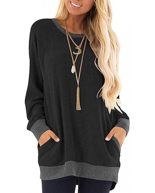 Womens Color Block Long Sleeve Shirt Round Neck Pocket Pullover Casual Tunic Sweatshirts Tops at  Women's Clothing store