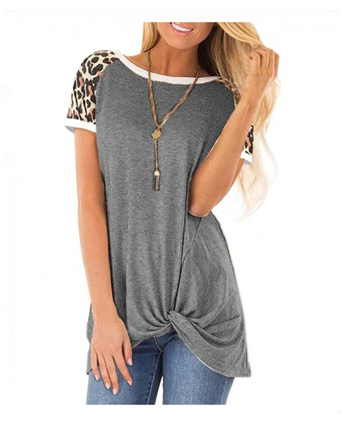 Women's Leopard Color Block Cute Twist Knot Tunic Comfy Stripe Round Neck Casual Short Sleeve T Shirt Blouses Tops at Women's Clothing store