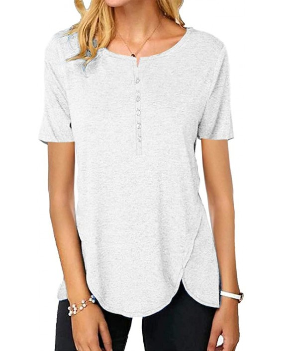 Womens Short Sleeve Button Up T Shirts Summer Casual Crewneck Tunic Tops Loose Plain Tees Blouses at Women's Clothing store