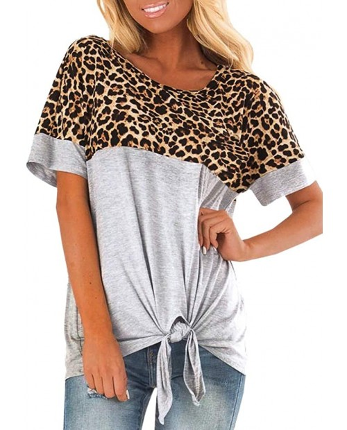 Women's Short Sleeve Front Tie Leopard Print Color Block T Shirt Crewneck Knot Casual Tunic Blouse Top