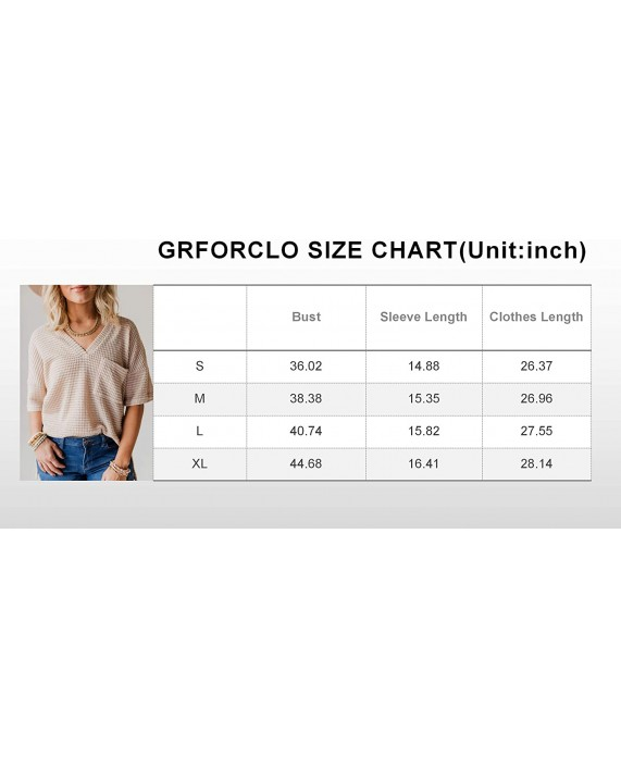 Womens V Neck T Shirts Short Sleeve Waffle Knit Tunic Tops Side Split Casual Loose Fit Tees Tunic Pocket Shirts Blouse at Women's Clothing store