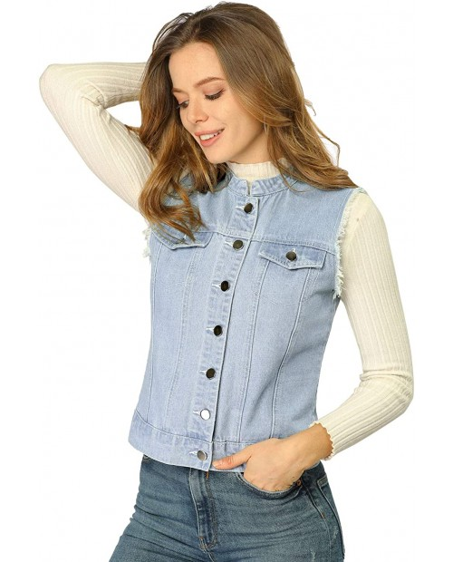 Allegra K Women's Buttoned Cotton Sleeveless Stand Collar Washed Denim Vest Jacket at Women's Clothing store