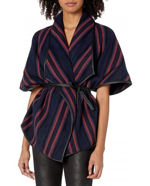 BB DAKOTA Junior's Point Blank-et Vest with Vegan Leather Trim Indigo Blue Medium at Women's Clothing store
