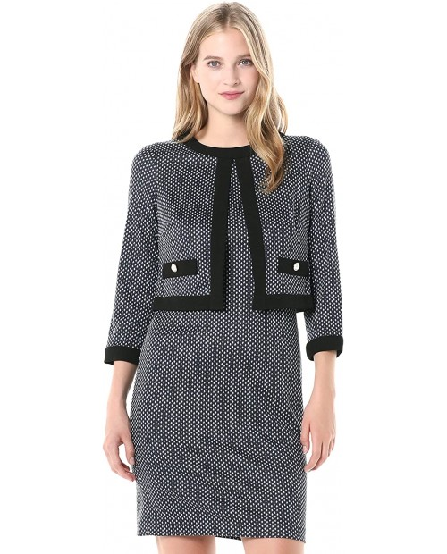 Karl Lagerfeld Paris womens Long Sleeve Printed Knit Sheath With Attached Jacket Top at Women's Clothing store
