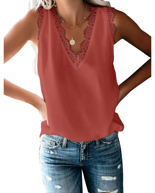 luvamia Women's Casual V Neck Lace Tops Short Sleeve Summer T Shirts Blouses at Women's Clothing store