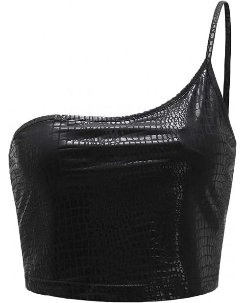 MakeMeChic Women's One Shoulder Spaghetti Strap Sleeveless Crocodile Cami Crop Top at  Women's Clothing store