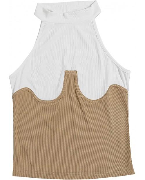 Romwe Women's Sleeveless Halter Neck Rib Knit Colorblock Spring Slim Crop Vest Top