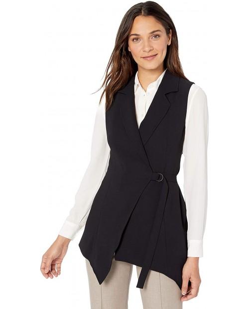Vince Camuto Women's Matte Crepe Asymmetric Wrap Vest Rich Black 2 at  Women's Clothing store