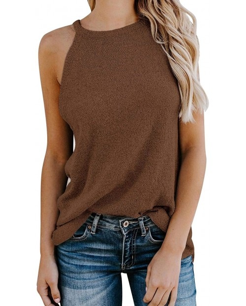 Ybenlow Womens High Neck Tank Tops Summer Sleeveless Knit Cami Shirts Casual Loose Vest Blouse Tunic Tees Brown at  Women's Clothing store