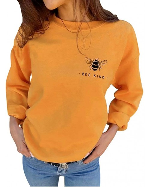 Be Kind Sweatshirts Pullover Women Bee Graphic Shirt Inspirational Teacher Fall Tops Loose Blouses size XXL Yellow at  Women's Clothing store