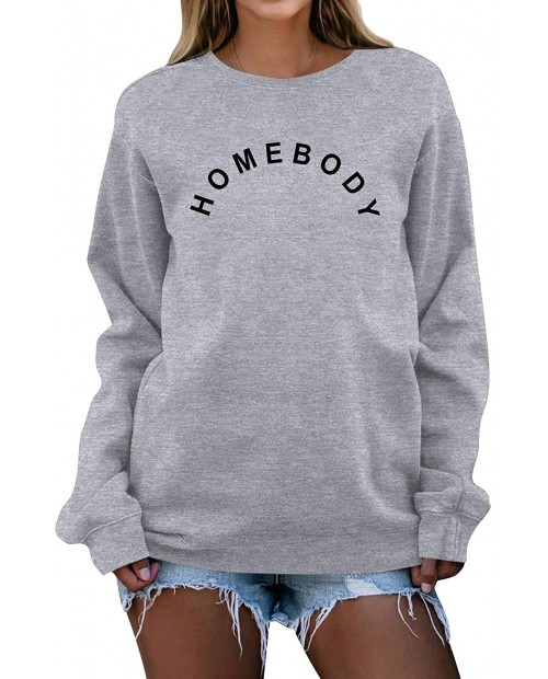 GEMLON Homebody Shirt Women Cute Letter Printed T-Shirts Long Sleeve Top Pullover Sweatshirt at Women's Clothing store