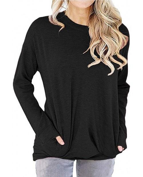 GSVIBK Womens Round Neck Sweatshirts Soft Sweatshirt Long Sleeve Pullover Pocket Shirts Long Sleeve Split Tunic at Women's Clothing store
