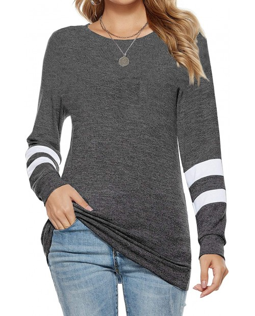 Kancystore Womens Pullover Sweatshirts Crewneck Casual Striped Loose Long Sleeve Tunic Tops at Women's Clothing store