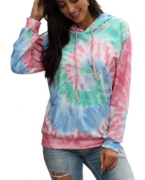 LYCKYY Women's Tie Dye Hooded Sweatshirt Long Sleeve Lightweight Pullover Hoodie with Pocket
