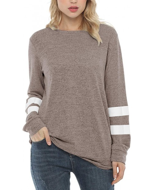 Reaowazo Womens Long Sleeve Tops Color Block Sweatshirts Sweaters Fall T Shirt Clothes at Women's Clothing store