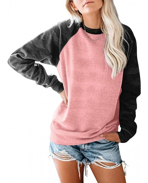 SENSERISE Womens Crewneck Camo Print Long Sleeve Sweatshirts Loose Fit Color Block Pullovers Tops at  Women's Clothing store