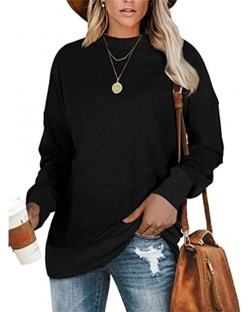 Smile Fish Women Oversized Loose Cotton Cozy Sweatshirts Soft Round Neck Tunics for Leggings at Women's Clothing store