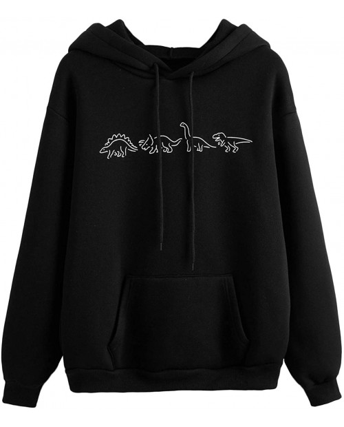 SweatyRocks Women's Casual Long Sleeve Graphic Drawstring Hooded Sweatshirt Tops with Pocket at  Women's Clothing store