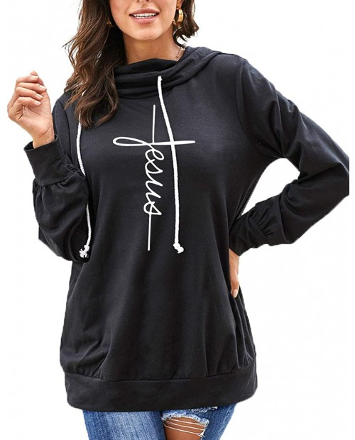 Women's Fall Casual Cowl Neck Long Sleeve Hoodie Loose Drawstring Pullover Tunic Hooded Sweatshirt Tops at  Women's Clothing store