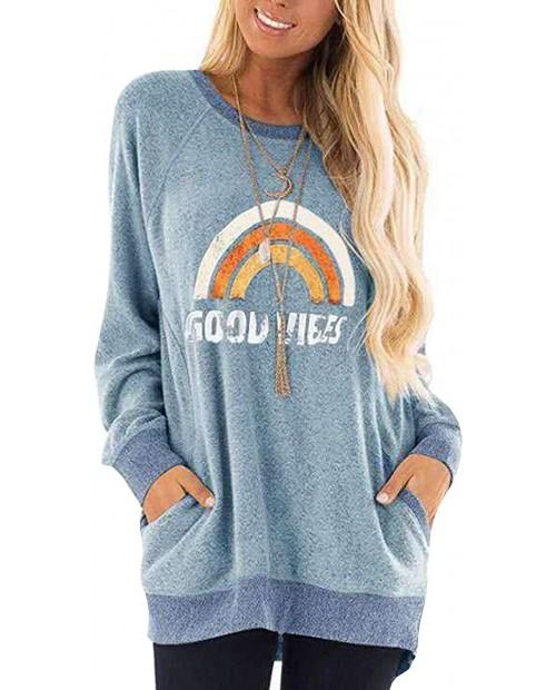 YIQIAN Women's Long Sleeve Round Neck Casual Pocket T-Shirt Blouse Sweatshirt Long Sleeve Top at  Women's Clothing store