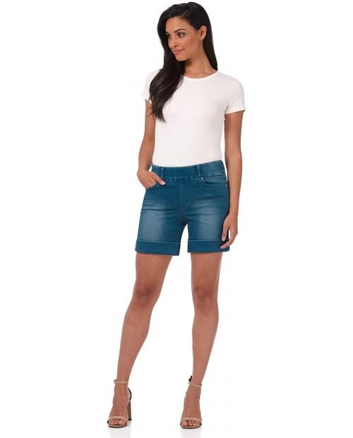 Rekucci Secret Figure Denim Women's 6 inch Pull-On Chic Cuffed Jean Short at Women's Clothing store