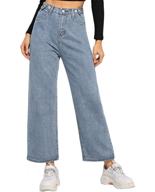 SOLY HUX Women's Casual High Waisted Button Jeans Wide Leg Denim Pants at Women's Jeans store