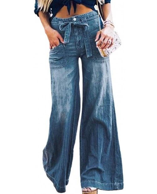 utcoco Women's Casual Loose Fit Mid Waisted Belted Flare Bell Bottom Palazzo Lounge Denim Jeans Pants at Women's Jeans store