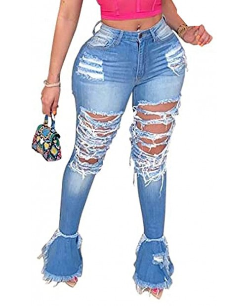 Womens High Waist Stretch Bell Bottom Jeans Ripped Destroyed Flare Raw Hem Denim Jeggings Pants at  Women's Jeans store