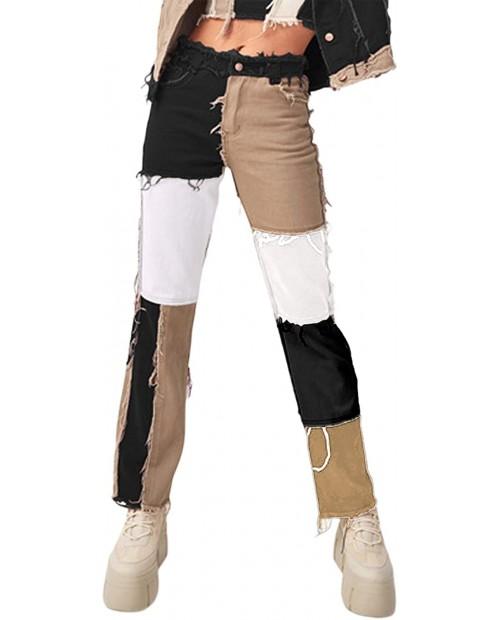Women´s Patchwork Pants Hight Waist Patch Flare Jeans Fashion A-line Vintage Pencil Trousers at Women's Jeans store