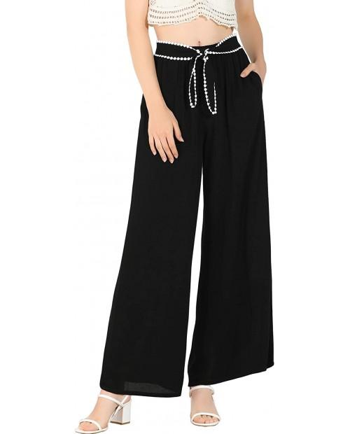 Allegra K Women's Elastic Waist Lace Tie Trousers Casual Wide Leg Long Pants at Women's Clothing store