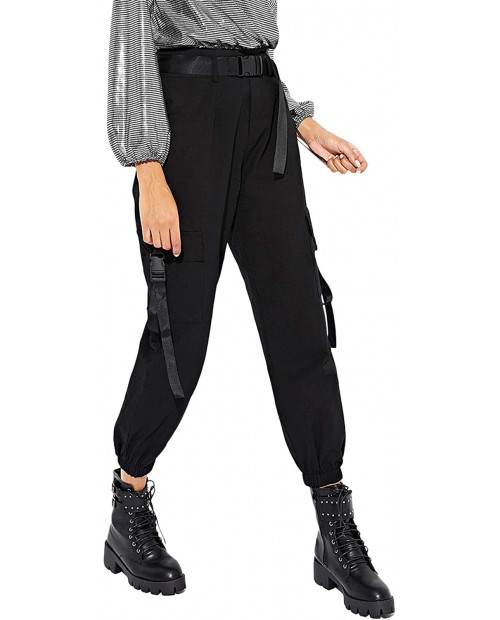 Milumia Women's Casual High Waisted Belted Cargo Joggers Workout Pants with Pocket at Women's Clothing store