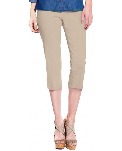 SLIM-SATION Women Wide Band Pull on Straight Leg Capri with Tummy Control Stone 10 at Women's Clothing store Manual Massage Tools