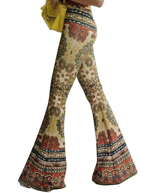 Women High Waisted Fit Flare Ethnic Paisley Floral Bell Bottoms Yoga Pants Flared Leggings at Women's Clothing store