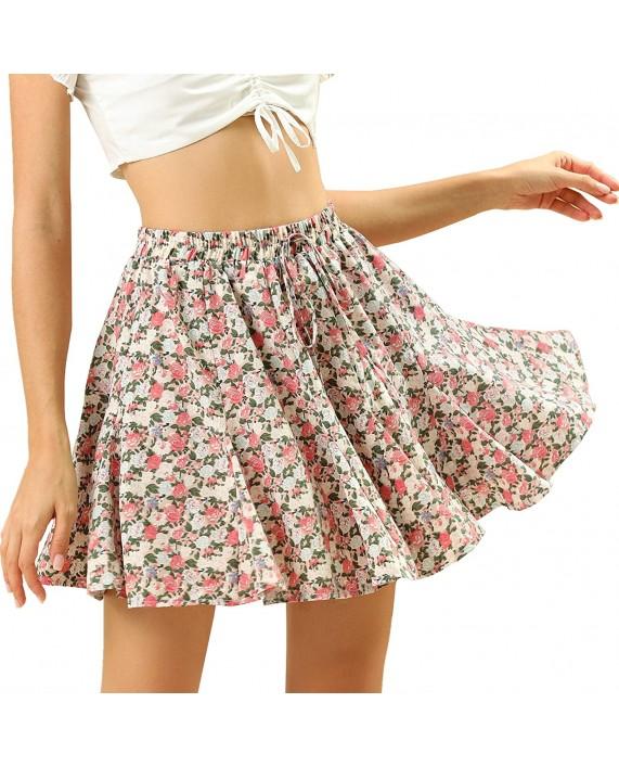 Allegra K Women's Floral Pleated Skirt Ruffle High Waist Summer Mini Skirt at Women's Clothing store